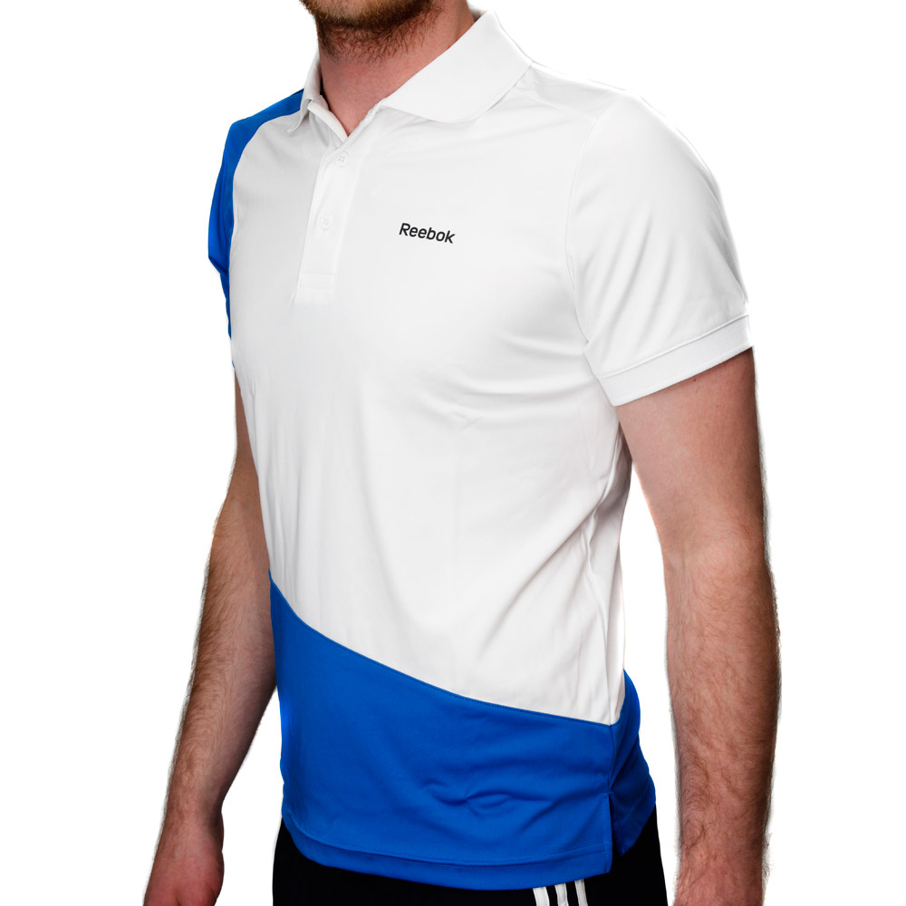 Reebok training stretch mens polo shirt white online for Mens polo shirts online